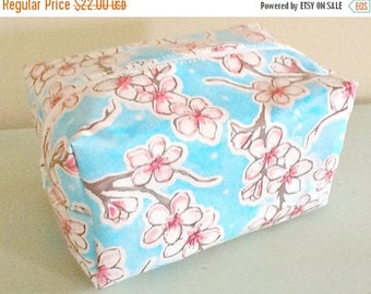 MEMORIAL DAY SALE Waterproof Floral Cosmetic Bag - Cosmetic Pouch - Laminate Makeup Bag - Tula Pink Fabric