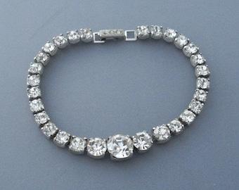 Kramer Rhinestone Bracelet, Art Deco 1940s Vintage Jewelry SUMMER SALE