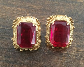 Ruby Red Glass Earrings Vintage Jewelry, Victorian Revival, SUMMER SALE