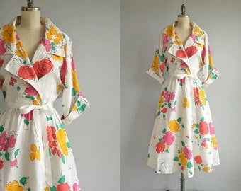 Vintage Gucci Dress / 1980s Floral Print Linen Shirt Dress / 80s Designer Dress Made in Italy / 80s Does 50s