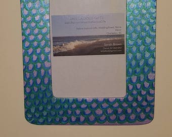 Mermaid Scales 4x6 Picture Frame, hand painted lavender and sky blue w/sapphire and emerald metallic scales, beach decor, mermaid room