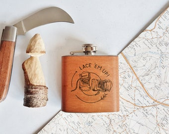Hiking Hip Flask, inspirational flask outdoorsy camping hip flask whiskey bottle outdoor gear custom flask personalised hiking boot
