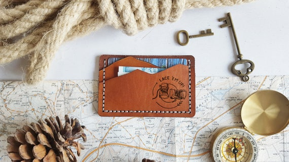 Hiking Card Wallet, Personalised leather card holder, hand stitched wallet, camping gift, mountain man wallet boyfriend card holder