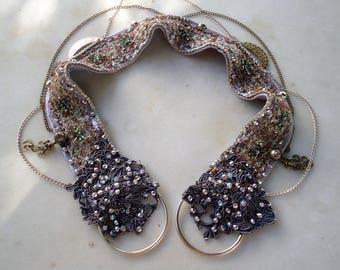 Pasiphais' Bellydance Belt, Tribal Fusion belt, Silver/light purple, Vintage, Cabaret, Belly dance costume.