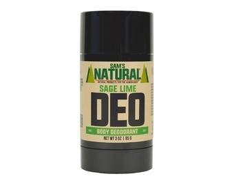 Sam's Natural - Sage Lime Natural Deodorant for Men - Gifts for Men - Natural, Vegan + Cruelty-Free