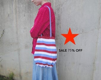 75% OFF Knitted Bag with Drawstring, Red White & Blue Stripes, Patriotic, Lined, Summer Tote Sling Bag