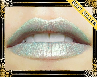 DRAGONFLY Lip Gloss: 10 mL Tube, Mint Green Lip Glaze, Gold Duochrome Shimmer Lip Color, Iridescent Lip Gloss, Ships Out in 4-7 Days