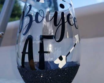 "Glitter stemless wine glass ""Boujee AF"""