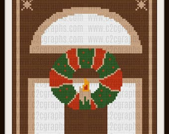 Christmas Wreath Door  Afghan, C2C Graph, Written Row by Row Word Chart
