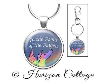Dog Memorial Keychain, Pet Memory, Greyhound Memorial, Rainbow Bridge, Pet Memorial, Condolence Gift, Pet Loss, In the Arms of the Angels
