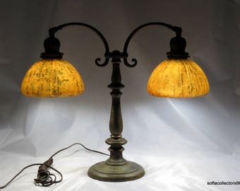 Handel 2 Light Student Lamp with Hard to Find Agate Shades, ca. 1920 - Free Shipping to the U.S.