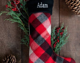 Woolrich Plaid with Black Cuff Personalized Christmas Stocking | MerryStockings exclusive