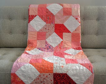 Geometric Quilt, Coral Lap Quilt, Modern Quilt, Twin Modern Quilt, Pink Quilt