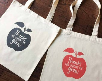 Thanks for helping me Grow -Apple - Teacher Appreciation Tote Bag