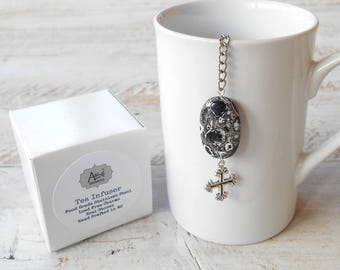 Tea Infuse, Cross, Lead Free Charm, Mosaic Black and Grey Stone, Christian Gift, Gift for Her, Gift for Him, Crucifix, Faith Tea Gift