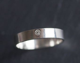 At symbol ring - hand stamped sterling silver ring