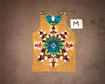 Tie Dye Tank Top ~ Fire Mandala With Palomino Gold Background ~ i_6063 in Adult Medium