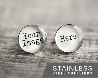 Custom photo cufflink, Stainless steel cuff, Customized cufflink, Personalized cuff, Wedding cufflinks, Gift for Him, for men, Father's day