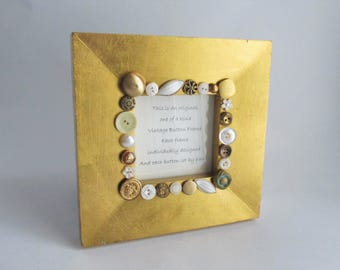 Vintage Buttons Upcycled Frame Gold 8 x 8 Square Table Top Frame
