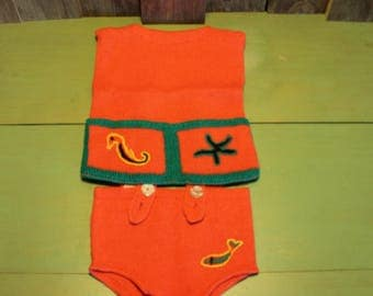 Kids Baby Clothes Handmade Knitted Dress Shorts Suspenders Seahorse Starfish Vintage 1960s 60s (P)