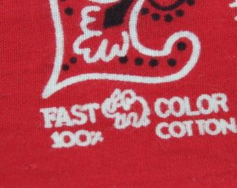 Vintage Bandana Red Elephant Trunk Up Fast Color