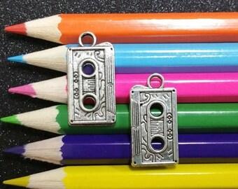 10 PCS - Vintage Style Retro Cassette Tape Silver Charm Pendant C0243