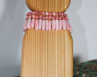 Pink and Silver Three Strand Bracelet