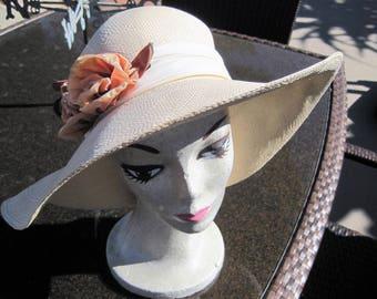 Beige Straw Hat - Wide Brim - Orange Silk Flower -  Signed Freeport Studios - Garden Party Hat - NOS - Original Tags