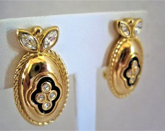 Burberrys Signed Earrings - Rhinestone Centers -   Black Gold Settings  - Traditional Classics - Couture Earrings