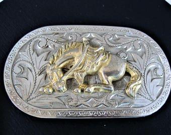 Bucking Horse Silver Buckle,  Country Western, Bronco Bucking, Rodeo Belt Buckle