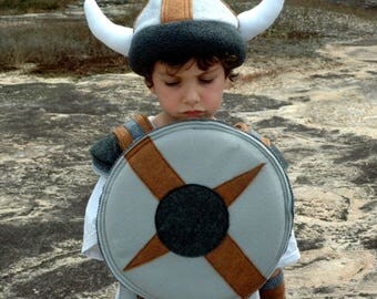 Viking Shield - GREY and BROWN -  Kid Costume, Adventure Gear