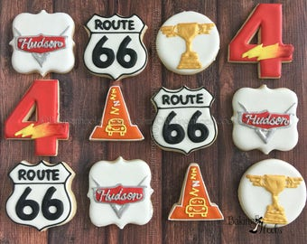 Cars Themed Birthday Cookies, lightening Number Cookies, Route 66 Cookies, Piston Cup Cookies, Cars Birthday, Cozy Cone Decorated Cookie