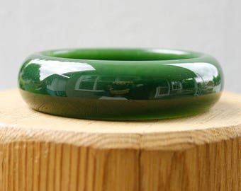 ON SALE AA Grade Siberian Nephrite Green Jade Bangle - Comfort Fit