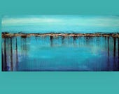 """RESERVED Art, Abstract Painting,Acrylic Painting,Canvas Art, Original Abstract Art, by Ora Birenbaum Titled: Calypso Song 2 26x53x1.5"""""""