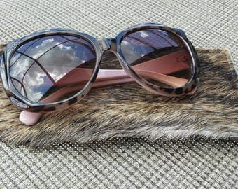 Cowhide leather sunglasses case