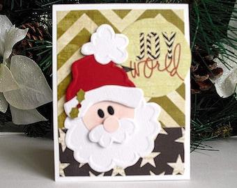 Joy to the World Embossed SANTA Gift Card Holder