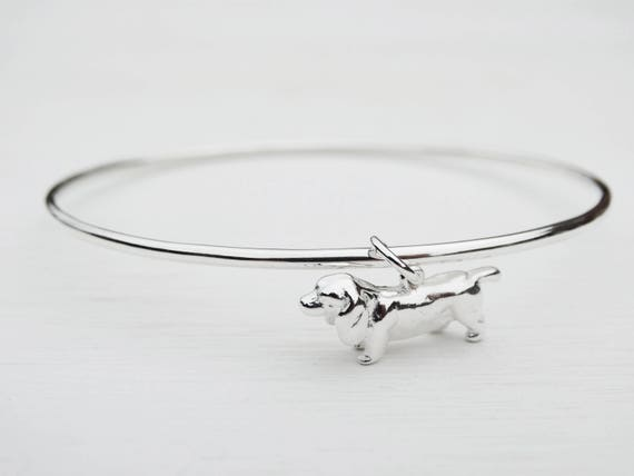 Sausage Dog Bangle, Silver Dachshund, Doxie, Sterling Silver