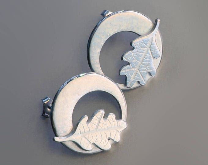Oak Leaf Earrings, Silver Jewelry, Silver Jewellery, Silver Earrings, Leaf Earrings.