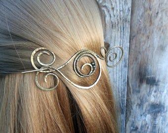 Celtiс Hair fork, Hair Slide, Wire Wrapped Brass Hair Fork, barrette, large shawl pin Hair clip, Metal Hair stick, hair accessories, bun pin