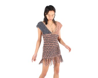 80s Hand Knit Open Crochet Avant Garde V Neck Bandage / Bodycon Micro Mini Dress / Top w/ Fringing