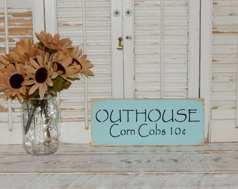 Bathroom Sign Wall Decor Primitive Rustic Country Home Decor Outhouse Sign