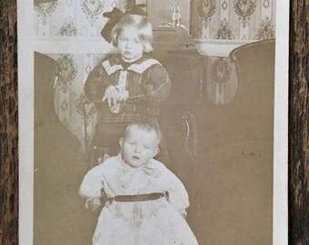 Original Vintage RPPC Photograph The Children at Home