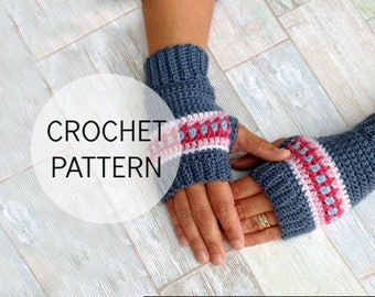 Crochet Wrist Warmers Pattern - Nordic Wrist Warmers - Crochet Fingerless Gloves Pattern - US and UK terms and Swedish - PDF file