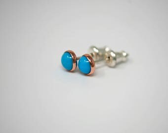 Tiny Sleeping Beauty 5 mm Turquoise, Copper, and Sterling Silver Stud Earrings