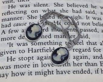 Black Jane Austen Style Silver Cameo Earrings