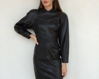 Amazing 1980's Micheal Hoban North Beach Leather black leather designer bodycon dress