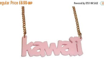 Kawaii Necklace, Pastel Pink Word Necklace, Cute Laser Cut Jewelry, Perspex