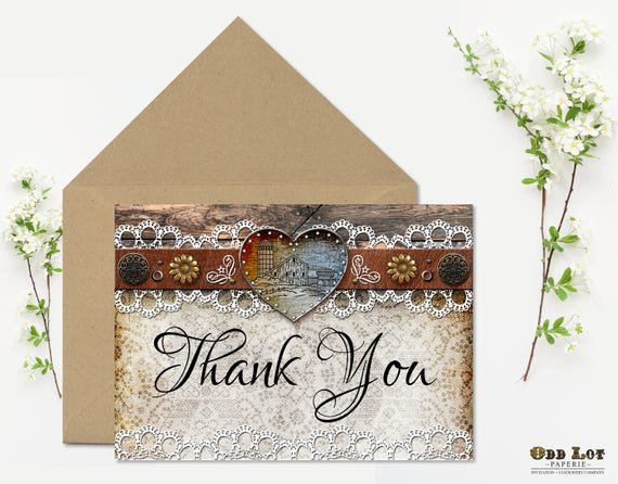 Rustic Thank You Card Printable Wedding Shower