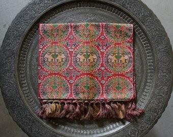 Vintage Tatsumura Japanese Pure 100% Silk Brocade Table Runner / Shawl w/ Box