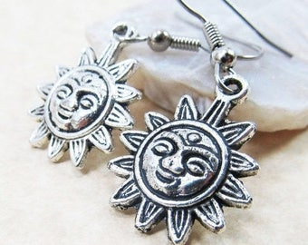 40% OFF Dangle Drop Earrings - Silver Pewter Metal Smiling Sun Charms - Surgical Steel Ear Hooks - Optional Crystal Link (H-62)